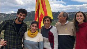 El 'president' de la Generalitat, Quim Torra, junto a su familia.