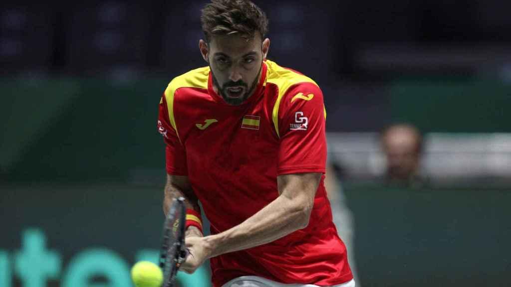 Marcel Granollers durante el partido de dobles de la Copa Davis