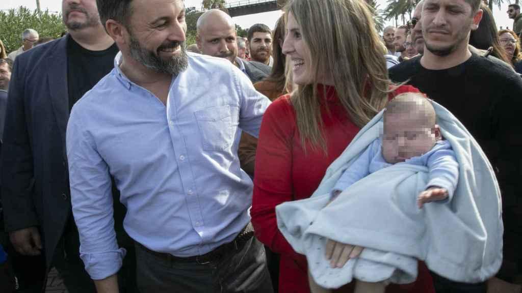 El líder de Vox, Santiago Abascal, en la manifestación de agricultores en Almería.