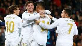 Fede Valverde celebra su gol a la Real Sociedad