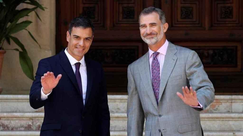 Pedro Sánchez, durante su visita a Marivent para ver a Felipe VI.