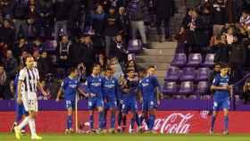 Los jugadores del Sevilla celebran el gol ante el Valladolid