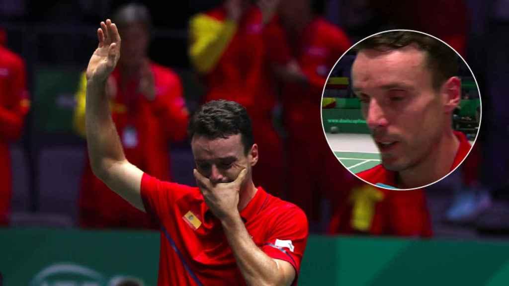 La emoción de Roberto Bautista tras su victoria en la final de la Davis