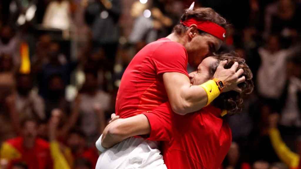 Rafa Nadal y Feliciano López al ganar al Gran Bretaña en la Copa Davis