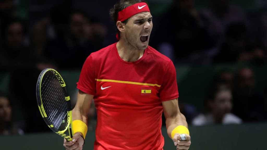 Rafa Nadal, en un momento del partido de la final de la Copa Davis entre Canadá y España