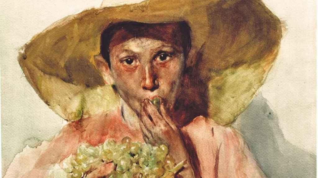 'Comiendo uvas'. Acuarela pintada por Sorolla en 1898.