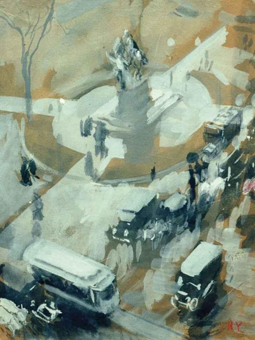 Vista contrapicada de una calle de Nueva York en un 'goauche' de Sorolla.