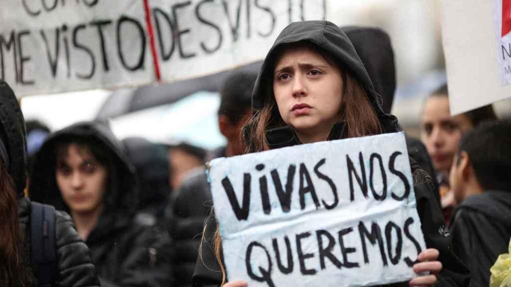 Una joven, en la manifestación contra la violencia machista.
