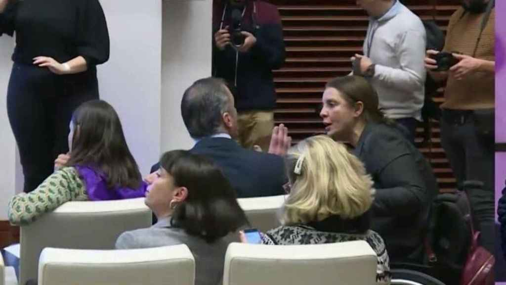 Javier Ortega Smith en el acto contra la violencia de género celebrado en Madrid.