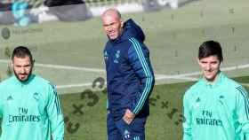 Zinedine Zidane, Thibaut Courtois y Karim Benzema