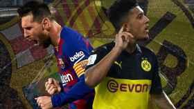 Leo Messi y Jadon Sancho