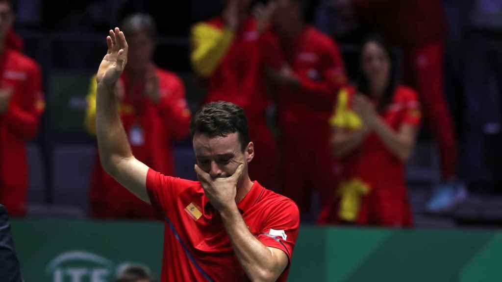 Roberto Bautista, tras ganar su partido de la final de la Davis