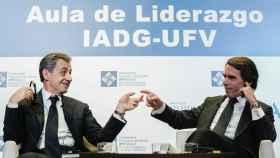 Nicolás Sarkozy y José María Aznar durante su charla en una universidad madrileña.
