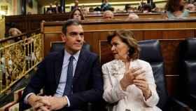 Pedro Sánchez y Carmen Calvo en el Congreso de los Diputados