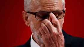 Jeremy Corbyn durante un mitin electoral