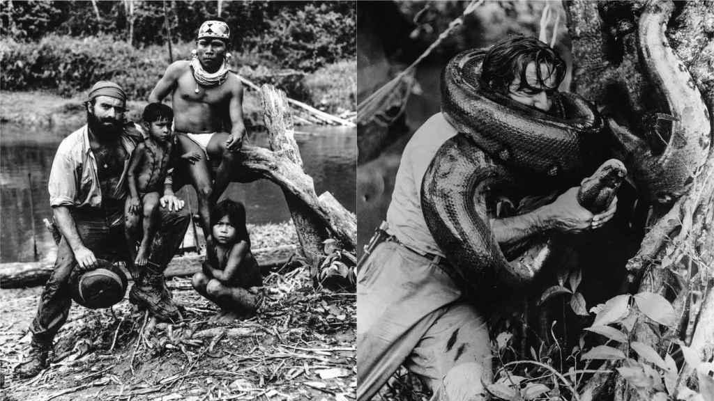 Miguel de la Quadra Salcedo con miembros de una tribu del Amazonas y luchando con una anaconda.