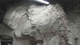Una de las paredes del almacén hallado bajo el Foro romano.