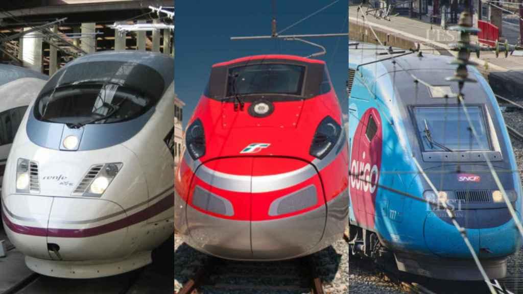 Tres trenes de alta velocidad de Renfe, Trenitalia y SNCF.