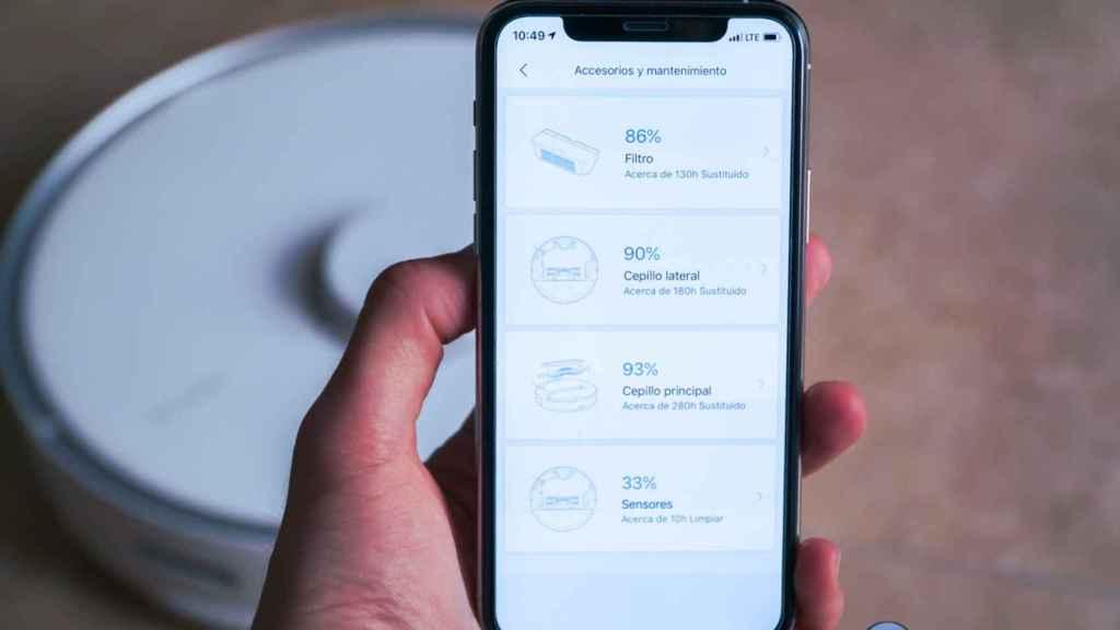 Aplicación de Roborock mostrando el estado de los accesorios
