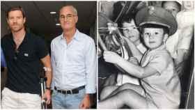Perico junto a Xabi Alonso, a la izquierda, y el doctor, en una imagen cuando era pequeño.