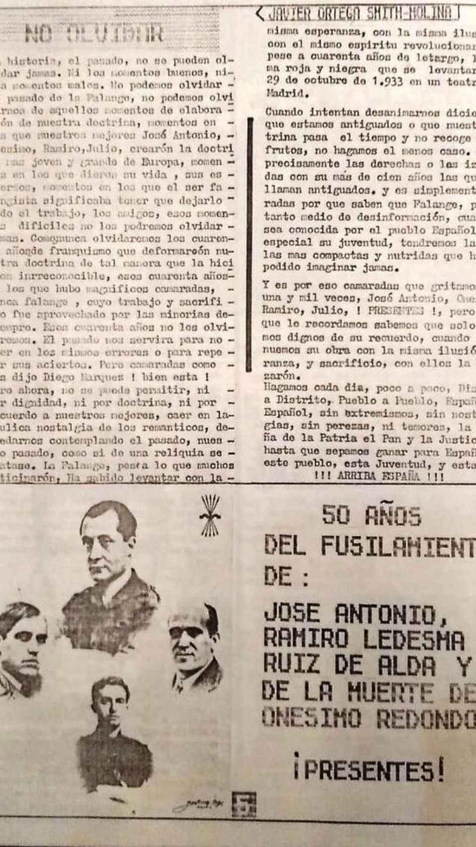 Artículo falangista escrito por Ortega Smith en la revista 'Así'.