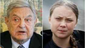 El millonario George Soros (izda.) y activista Greta Thunberg (dcha.)
