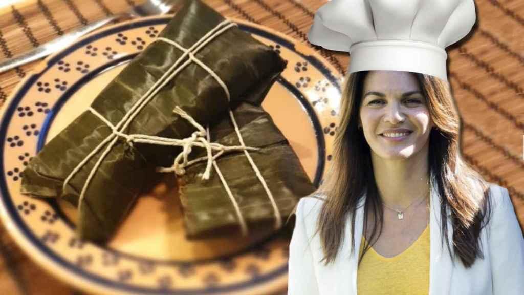 Fabiola Martínez junto a su plato estrella, las hallacas, en montaje JALEOS.