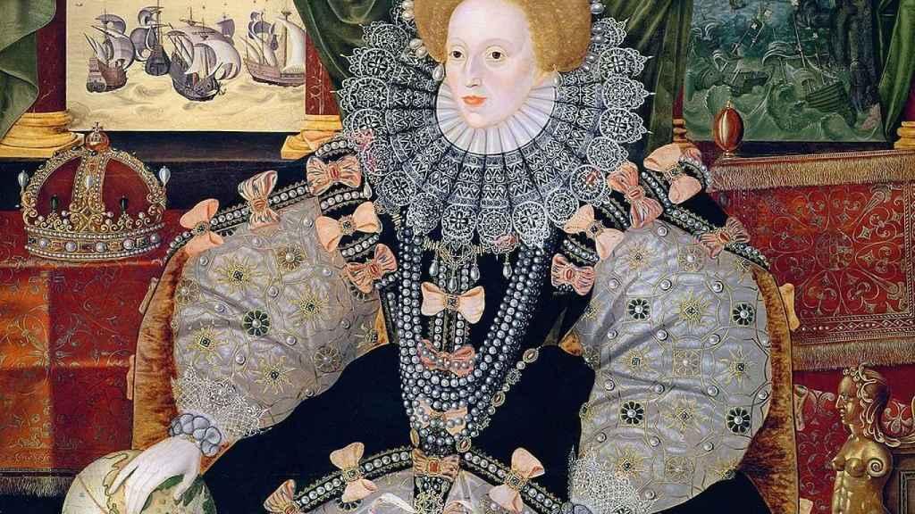 Retrato de Isabel I para conmemorar su victoria sobre la Gran Armada.