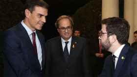 Pedro Sánchez, Quim Torra y Pere Aragonès, en la cumbre de Pedralbes.