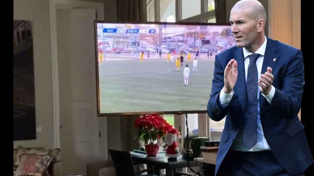 Zinedine Zidane celebra el gol de su hijo