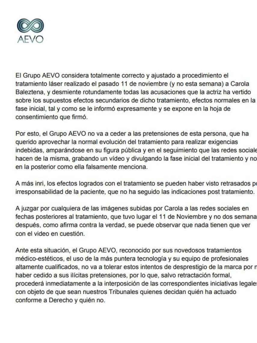 Comunicado de prensa oficial emitido por el Grupo AEVO.