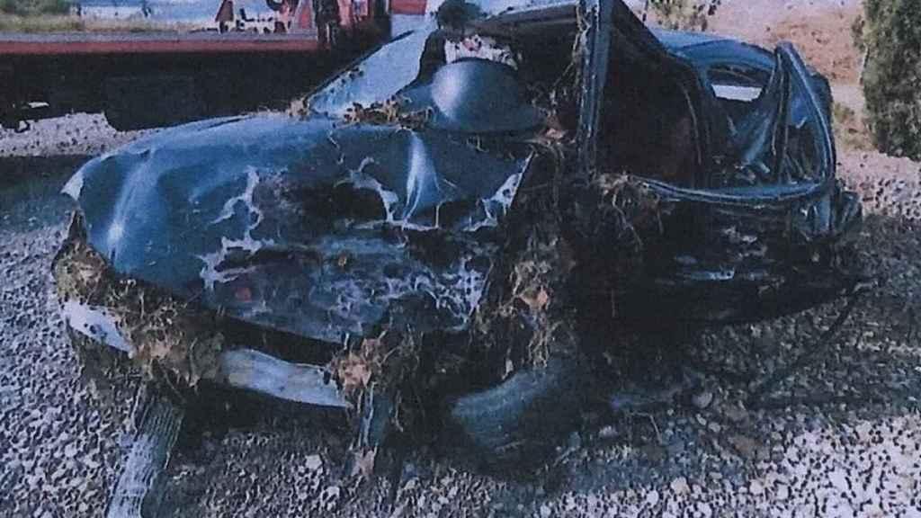 El coche de Marta Soria, tras el siniestro.