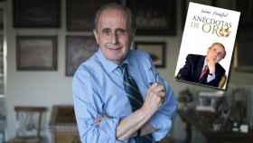Jaime Peñafiel junto a la portada de su nuevo libro en un montaje de Jaleos.