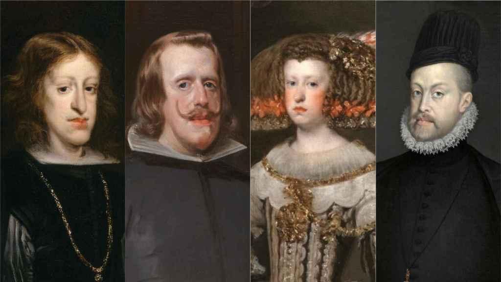Carlos II, Felipe IV, Mariana de Austria y Felipe II.