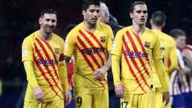 Messi, Griezmann y Suárez en el Wanda