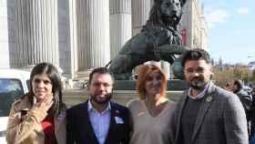 Vilalta, Aragonés, Telechea y Rufián, este lunes en las puertas del Congreso.