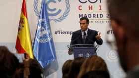 Pedro Sánchez, durante una de sus pocas ruedas de prensa, este lunes en la cumbre de la ONU.