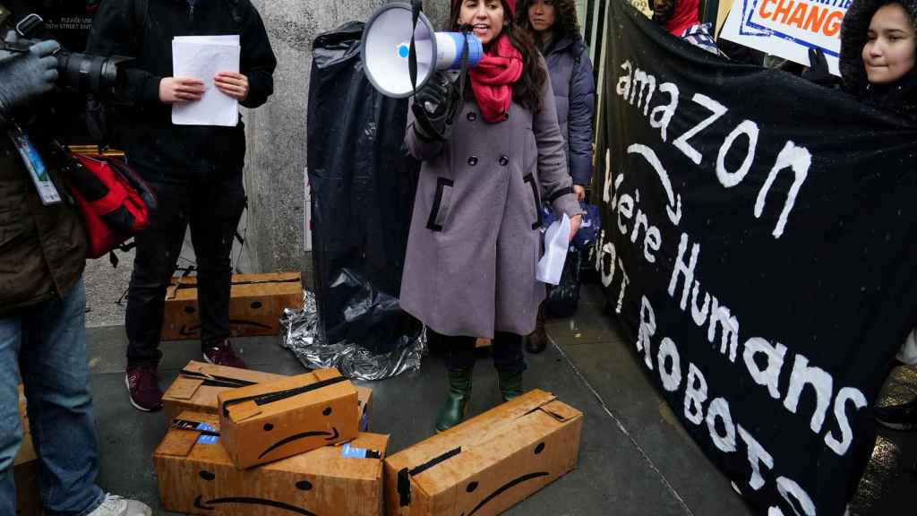Protestas contra Amazon en Nueva York el pasado diciembre