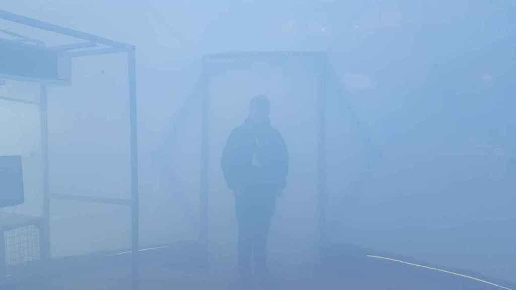 Una simulación del aire en Pekín en la exposición 'Burbujas de Contaminación'.