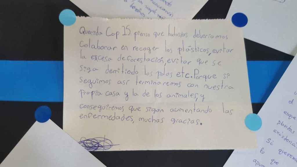 Una de las cartas de queja de un menor a los líderes reunidos en la COP25.