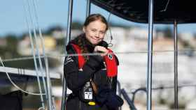 Greta Thunberg llega al puerto de Santo Amaro de Lisboa.