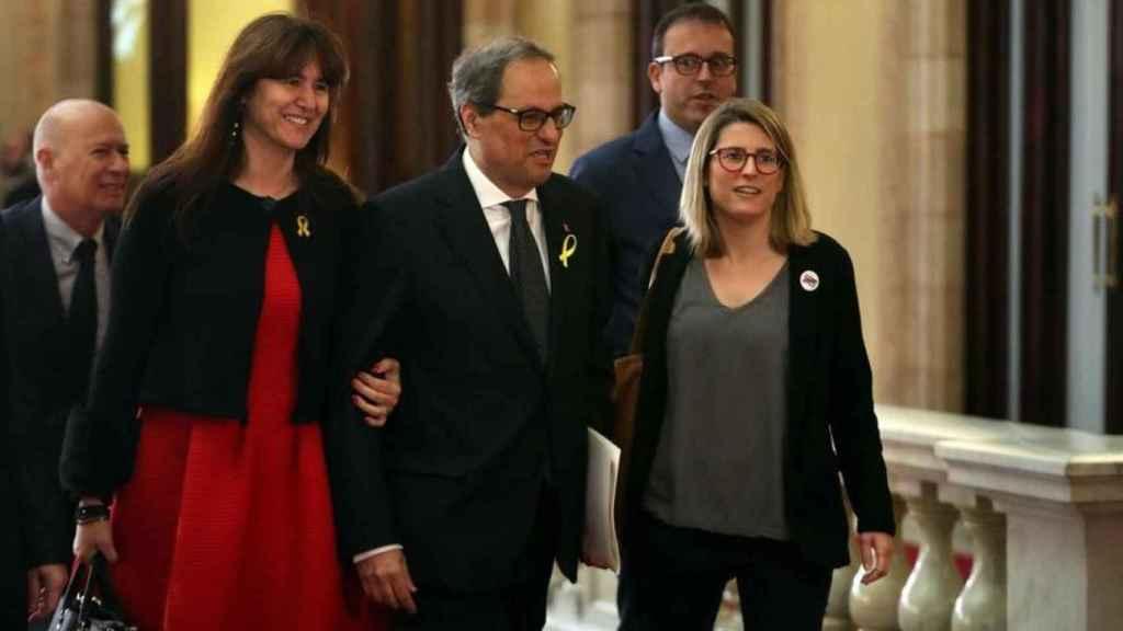 Laura Borràs, junto a Quim Torra y Elsa Artadi.