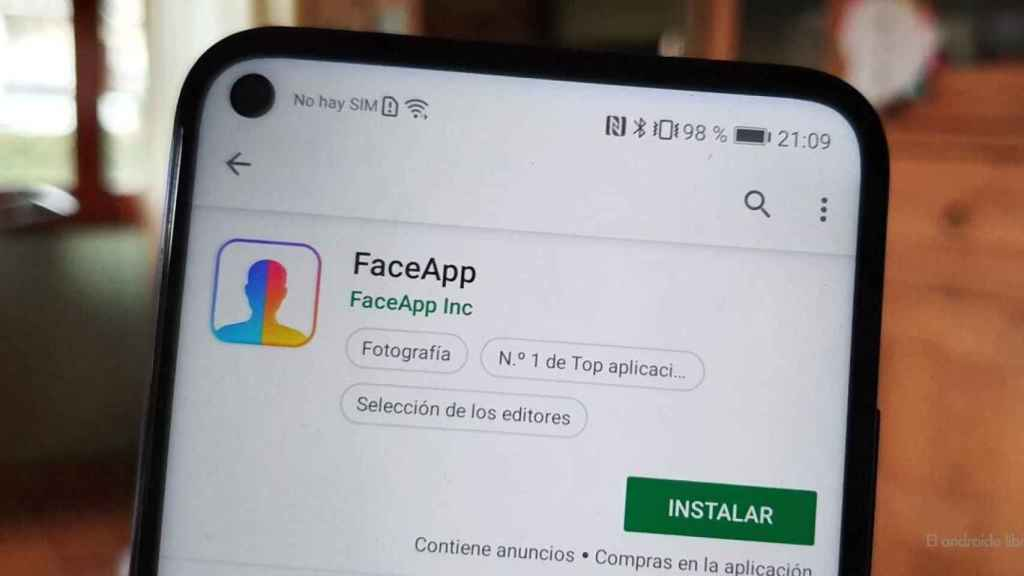 FaceApp para Android.