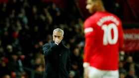 José Mourinho y Rashford, en el Manchester United - Tottenham