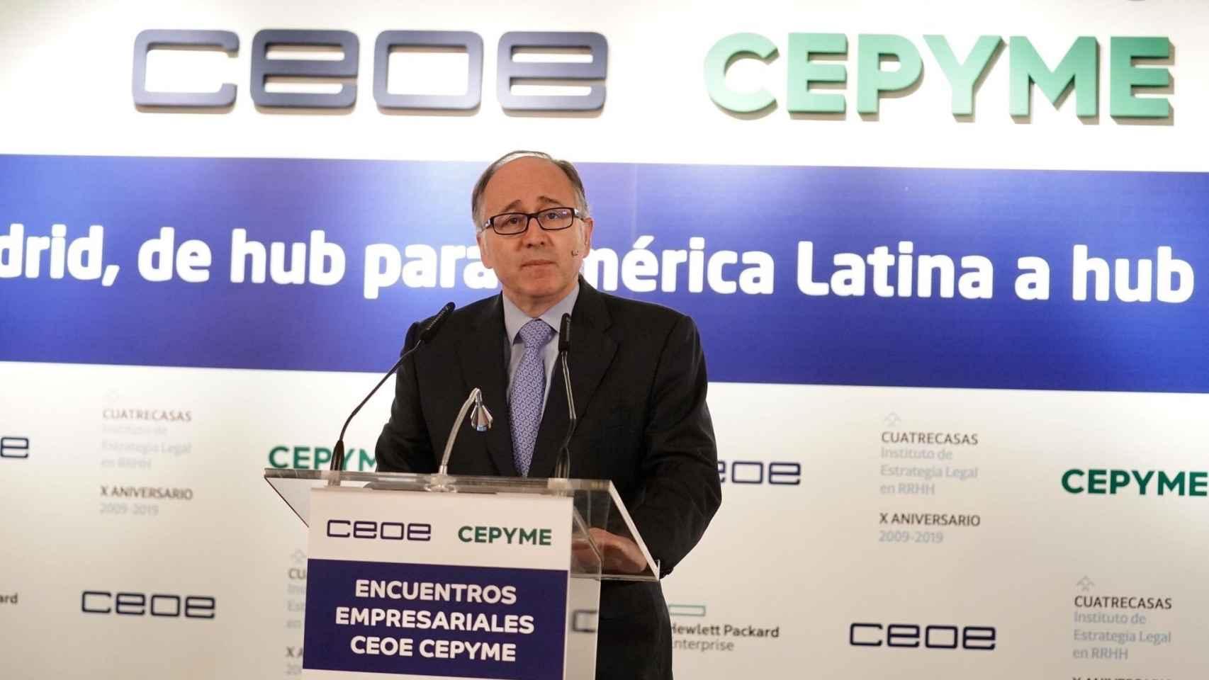 El presidente de Iberia, Luis Gallego, en el encuentro empresarial de CEOE y Cepyme.