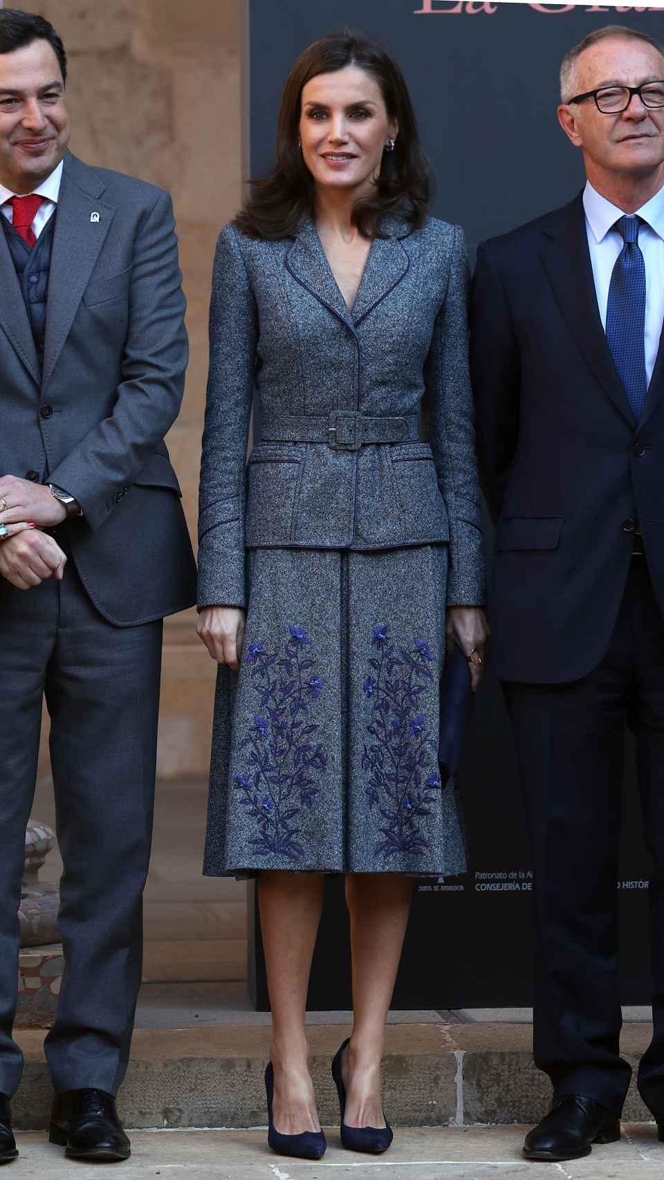 La Reina estrenó este 'outfit' en el Día de la Hispanidad de 2017.