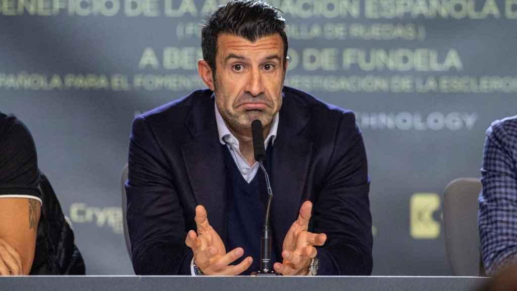 Luis Figo, durante la presentación del partido entre Leyendas Selección Española y GoldStandard Estrellas del Mundo