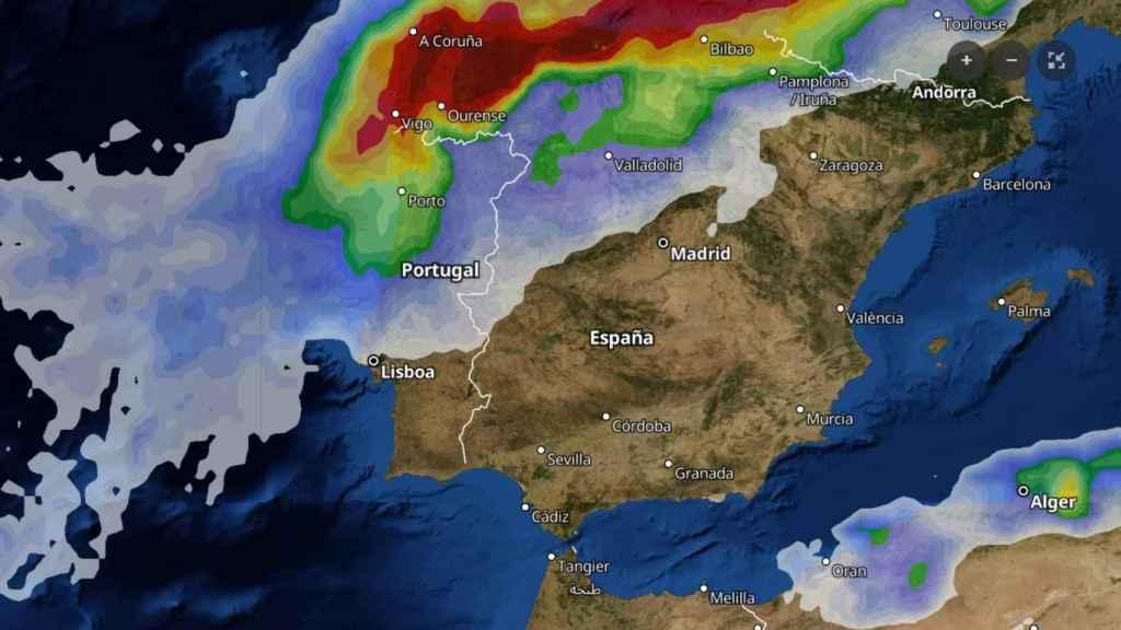La entrada del frente frío del domingo 8 de diciembre según Tiempo.com.
