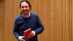 Pablo Iglesias durante la presentación de 'Nudo España: un año después' en el Congreso.