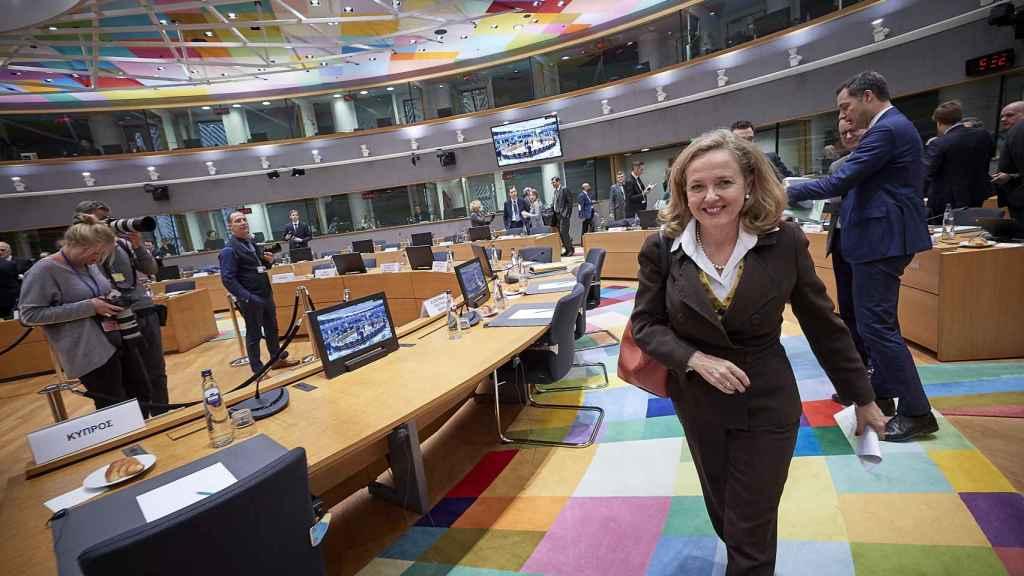 La ministra de Economía, Nadia Calviño, durante el Ecofin celebrado este jueves en Bruselas